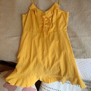 Lulus yellow ruffle dress